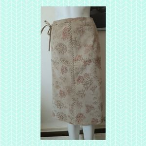 Leather skirt - boho - flowery - country